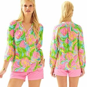 Lilly Pulitzer Elsa Floral Silk Blouse S